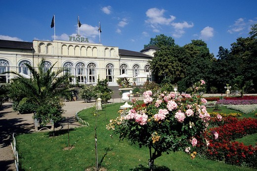Koelner Flora Cologne Flora, botanical garden with flowers in front of the Festsaal ballroom, park in Riehl, Cologne, North Rhine_Westphalia, Germany, Europe : Stock Photo
