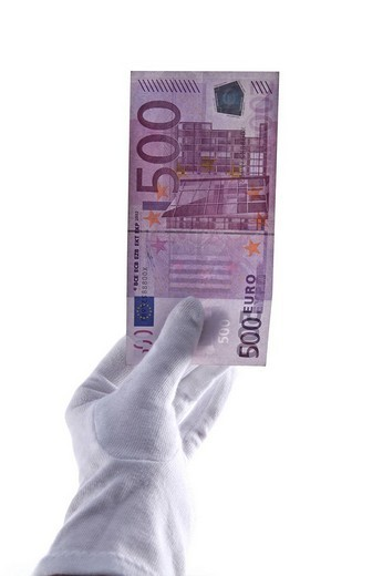 White_gloved hand holding 500 euro banknote : Stock Photo