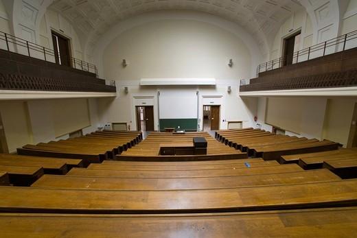 Empty auditorium, Ludwig Maximilians University in Munich, Bavaria, Germany : Stock Photo