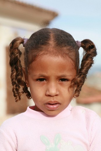 Girl wearing her hair in pigtails, Trinidad, Sancti_Spiritus Province, Cuba, Latin America : Stock Photo