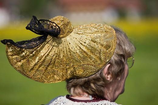 Stock Photo: 1848-118061 Woman wearing a golden bonnet at the Gauderfest 2008 Festival, Zell am Ziller, Zillertal Valley, North Tyrol, Austria, Europe