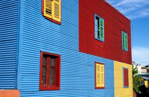 Colourful facade in the tourist alley Caminito in the dockland area La Boca, Buenos Aires, Argentina, South America : Stock Photo