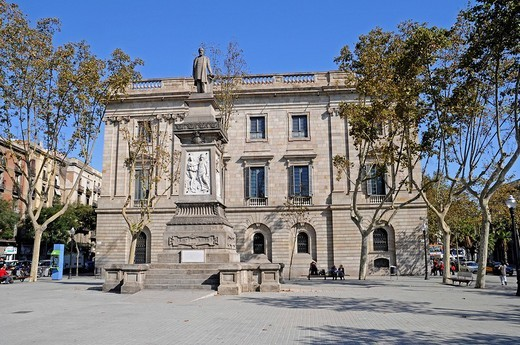 Memorial, Antoni Lopez, Palacio de la Llotja de Mar, former stock exchange, Barcelona, Catalonia, Spain, Europe : Stock Photo