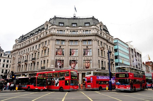 Stock Photo: 1848-118437 Typical double deckers at Oxford Circus, London, England, Great Britain, Europe