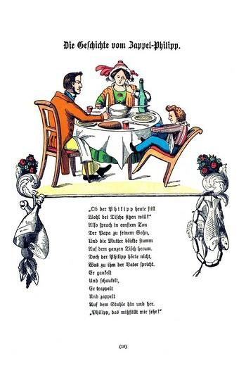 Book illustration, Die Geschichte vom Zappel_Philipp, The Story of Fidgety Philip, Der Struwwelpeter, Shaggy Peter, Dr. Heinrich Hoffmann, 1876 : Stock Photo