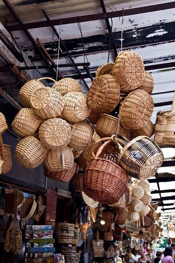 Group of Paniere, traditional wicker baskets, at the market, Italy, Europe : Stock Photo