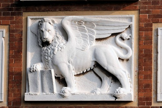 Venetian lion on a residential building near Arsenale, Venice, Veneto, Italy, Europe : Stock Photo