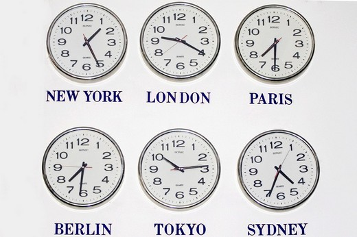 Stock Photo: 1848-119708 Time in different cities of the world