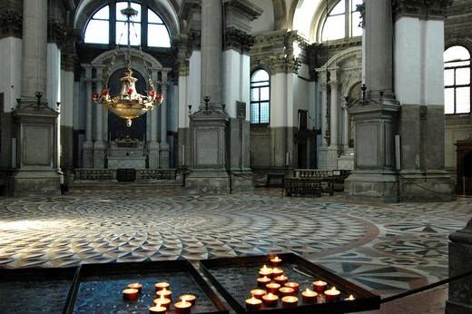 Basilica Santa Maria della Salute, interior, Venice, Veneto, Italy, Europe : Stock Photo