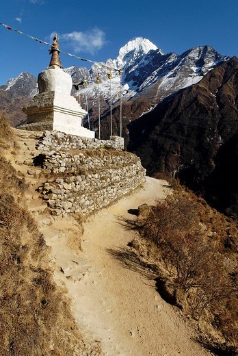 Historic stupa in front of Thamserku 6608, Sagarmatha National Park, Khumbu, Nepal : Stock Photo
