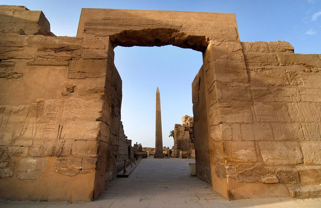 Stock Photo: 1848-119857 View of an obelisk through a gate, Karnak Temple, Luxor, Egypt, North Africa