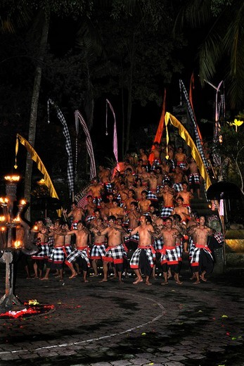 Dancers performing Kecak, Ketjak or Ketiak Dance in Ubud, Bali, Indonesia, Asia : Stock Photo