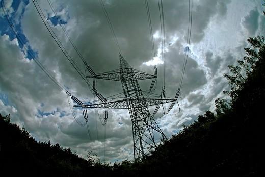 Dramatic power mast : Stock Photo