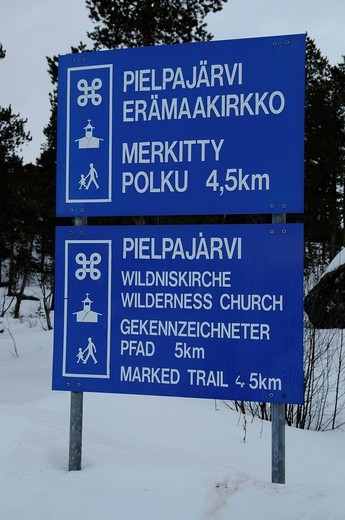 Information board Pielpajaervia, wooden wilderness church, Inari, Lapland, Finland, Europe : Stock Photo