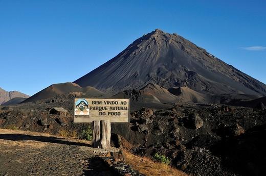 Stock Photo: 1848-120503 Entrance to the Fogo Nature Park, Pico de Fogo Volcano, Fogo Island, Cape Verde Islands, Africa