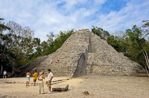 Nohoch Mul Pyramid, Mayan ruins of Coba, Quintana Roo state, Mayan Riviera, Yucatan Peninsula, Mexico : Stock Photo