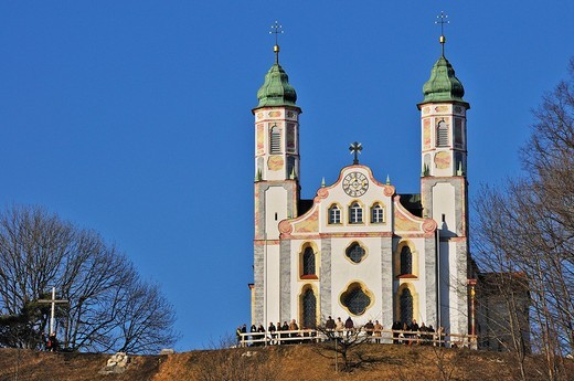 Heilig_Kreuz_Kirche, Church of the Holy Cross on Kalvarienberg Mount Calvary, Bad Toelz, Bavaria, Germany : Stock Photo