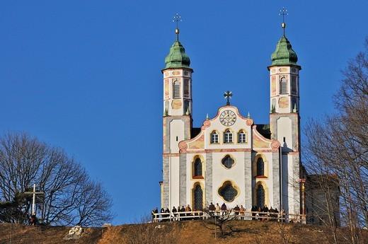Stock Photo: 1848-121894 Heilig_Kreuz_Kirche, Church of the Holy Cross on Kalvarienberg Mount Calvary, Bad Toelz, Bavaria, Germany
