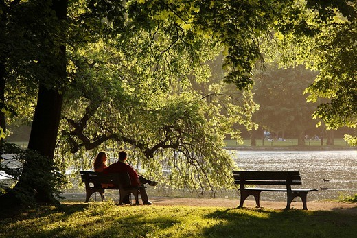 Couple sitting on a park bench in the Englischen Garten, English Garden at Lake Kleinhesseloher See, Munich, Upper Bavaria, Germany, Europe : Stock Photo