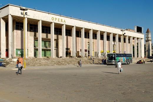 Stock Photo: 1848-122072 Cultural Palace or Opera house on Skanderberg Square, Tirana, Albania, the Balkans, Europe