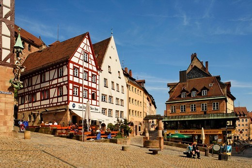 By the Tiegaertnertor Tower, fountain, restaurants, historic city centre, Nuremberg, Middle Franconia, Bavaria, Germany, Europe : Stock Photo