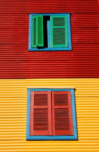 Stock Photo: 1848-122331 Colourful facade in the tourist alley Caminito in the dockland area La Boca, Buenos Aires, Argentina, South America