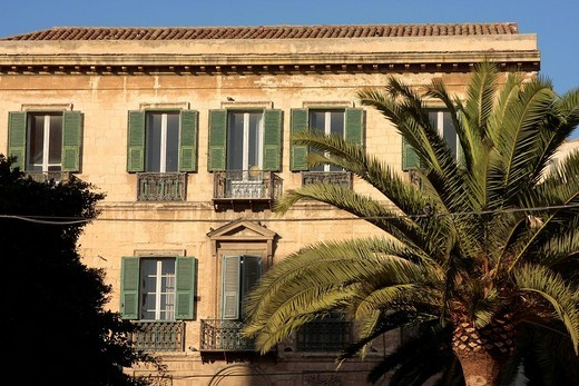 Stock Photo: 1848-12240 Apartment house and palm tree in the old part of town, Cagliari Sardinia, Italy, Europe