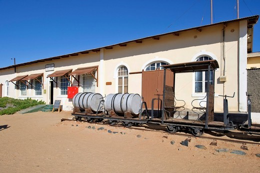 Stock Photo: 1848-122501 Former shop and railway station in Kolmanskop, Namibia, Africa