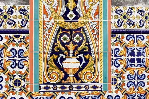 Colourful tiles in Tazacorte, La Palma, Canary Islands, Spain, Europe : Stock Photo