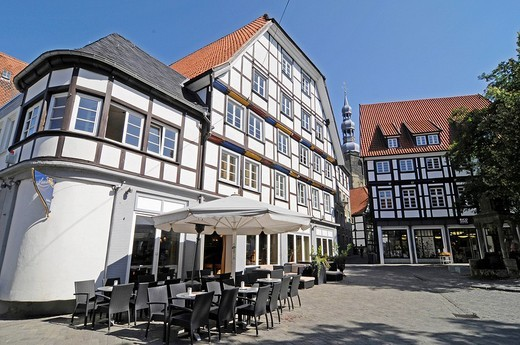 Sidewalk cafe, half_timbered houses, church tower, square, historic town centre, Soest, North Rhine_Westphalia, Germany, Europe : Stock Photo