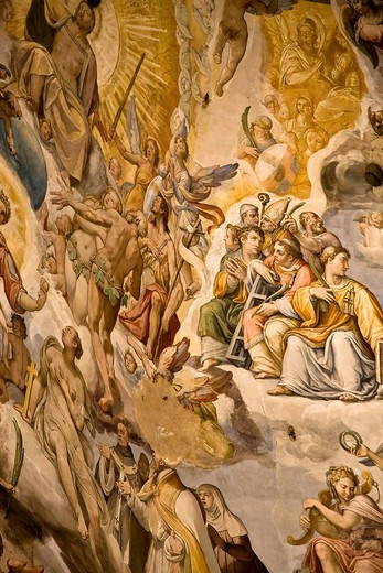 Ceiling mural in the cathedral cupola of the Santa Maria del Fiore Florence Tuscany Italy : Stock Photo