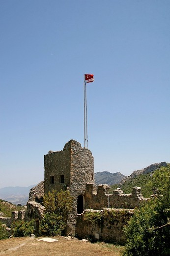 St. Hilarion Crusader Castle dating to the eleventh century, watchtower, Pentadaktylos Mountains, North Cyprus, Europe : Stock Photo