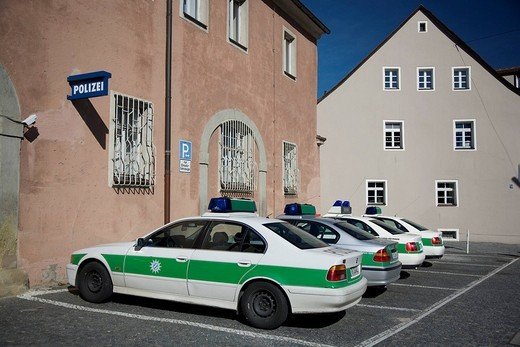 Cars parked at a police station, Regensburg, Bavaria, Germany : Stock Photo