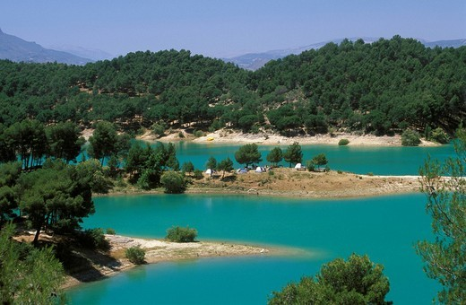 Embalse de Guadalteba, reservoir in Guadalhorce, Málaga Province, Andalusia, Spain : Stock Photo