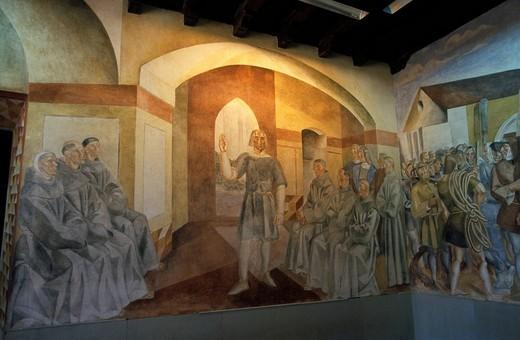 Stock Photo: 1848-123857 Frescoes by Daniel Vazquez Días in the Monasterio La Rábida, Franciscan monastery in Huelva, Costa de la Luz, Andalusia, Spain