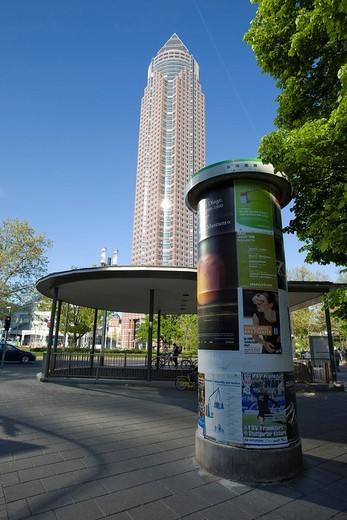 Messeturm Tower by Tishman Speyer, Frankfurt, Hesse, Germany, Europe : Stock Photo