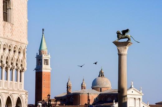 Doge´s Palace, St Mark´s Lion, San Giorgio, Venice, Veneto, Italy, Europe : Stock Photo