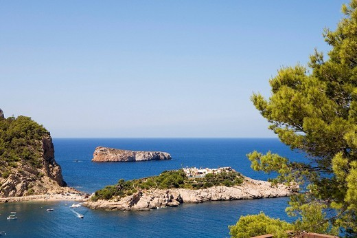 Stock Photo: 1848-124052 Island in the bay of Port Sant Miquel, Ibiza, Balearic Islands, Spain, Europe