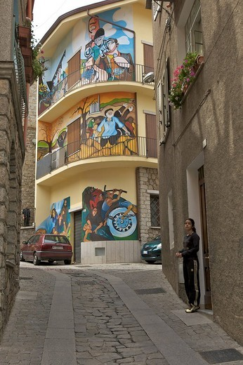 Stock Photo: 1848-124114 Alley with political murals, Orgosolo, Sardinia, Italy, Europe