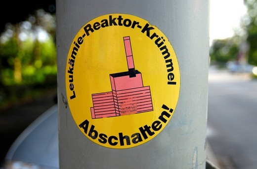 Sticker protesting the Kruemmel Nuclear Power Plant in Schleswig_Holstein, northern Germany, Europe : Stock Photo