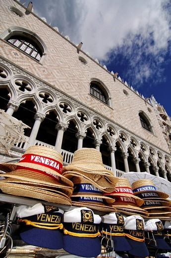 Souvenir stall in front of Doge´s Palace, Venice, Veneto, Italy, Europe : Stock Photo
