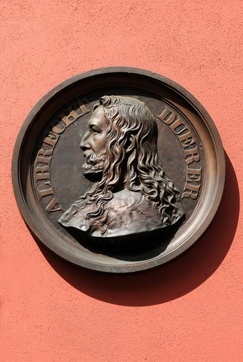 Stock Photo: 1848-124778 Relief by Albrecht Duerer on a house facade, Nuremberg, Middle Franconia, Bavaria, Germany, Europe