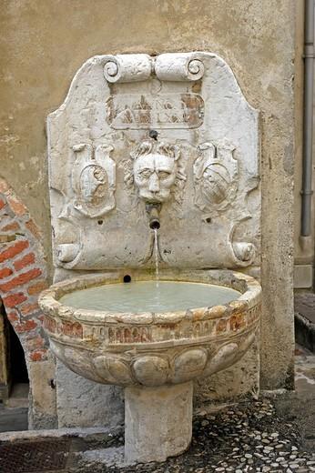 Wall fountain, Asolo, Veneto, Italy, Europe : Stock Photo