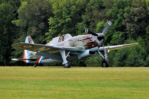 Stock Photo: 1848-124960 French fighter aircraft Morane_Saulnier D_3801 J_143, Europe´s largest meeting of vintage planes at Hahnweide, Kirchheim_Teck, Baden_Wuerttemberg, Germany, Europe