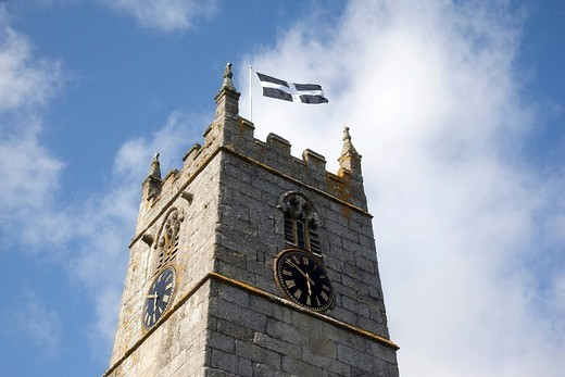 Cornish flag on the church tower of St Just in Penwith, Cornwall, England, United Kingdom, Europe : Stock Photo