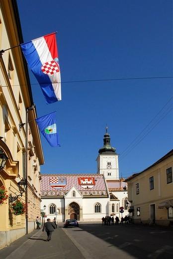 St. Mark´s square, historic town of Zagreb, Croatia, Europe : Stock Photo