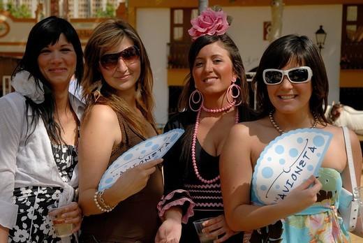 Stock Photo: 1848-125110 Girls in traje de gitana , Feria de Caballo , Jerez de la Frontera , Cadiz , Andalusia , Spain , Europe