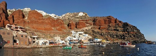 Stock Photo: 1848-125121 Harbour of Ammoudi, Oia, Santorini, Greece