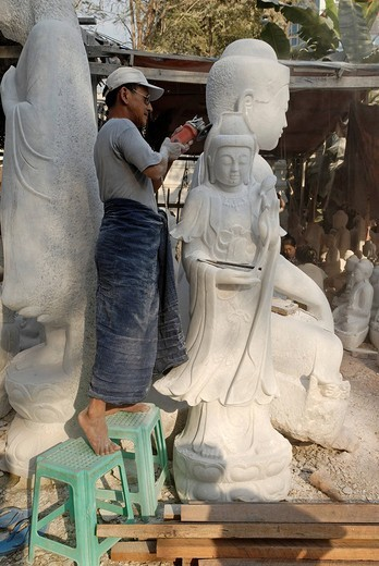 Stock Photo: 1848-125180 Production of marble statues, Mandalay, Myanmar