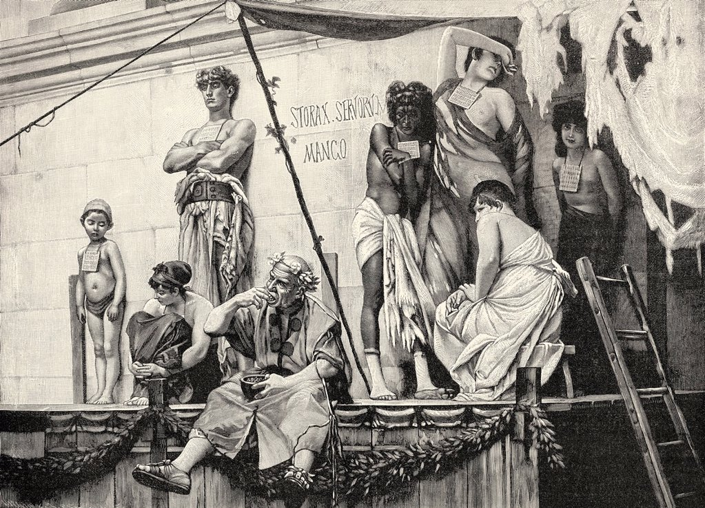 Ancient Roman slave market, ca. 1890, after Boulanger ...